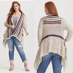 Border striped open front drape cardigan